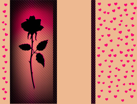 Vector Card With Red heart and black Rose Stock Vector - 8512628