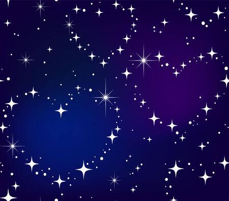 Seamless pattern Star heart in night sky Stock Vector - 8512629