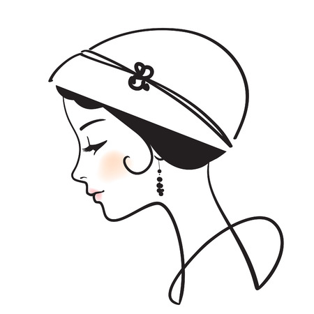 beautiful woman face with hat  illustration  Vector
