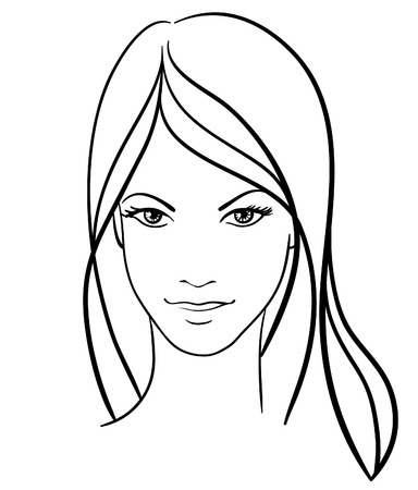 beauty girl face vector icon Illustration