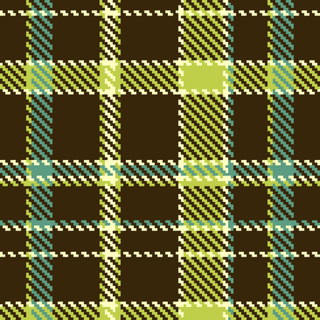 Seamless checkered green brown pattern  Vector