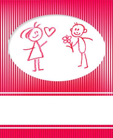 man and woman congratulates, love valentine card Stock Vector - 8638650