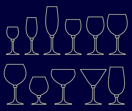 alcoholist: Set van glazen voor alcoholische dranken Stock Illustratie