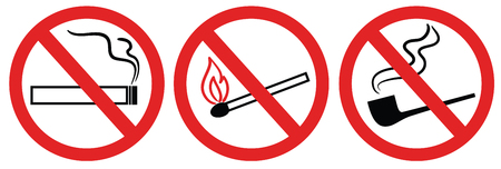health hazard: no smoking sign, no fire, no match,  symbol