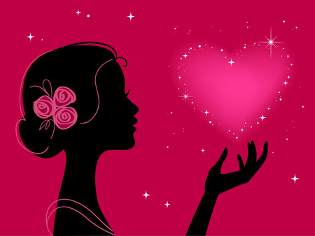 abstract portrait: beautiful woman silhouette with star heart