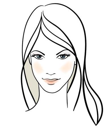 pretty face: Beauty girl face. Hand-drawn fashion model
