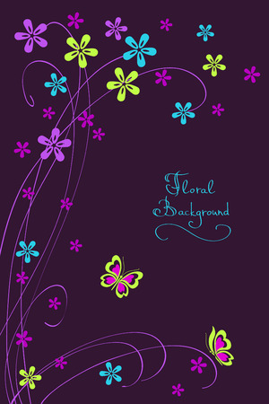 pink butterfly: Floral card background with flower and  butterfly