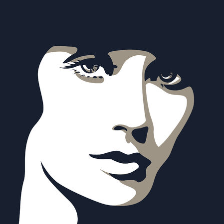 Woman face with beautiful eyes, illustration