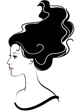 long black hair: girl face icon with long black hair