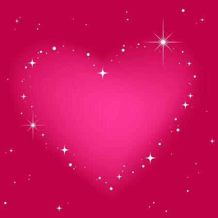 glitter heart: Star heart in pinkt sky