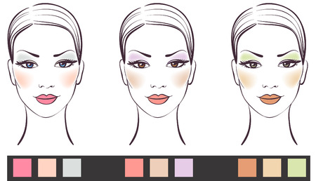 pretty eyes: Beauty women face with makeup Vector illustration