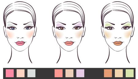 Faccia le donne bellezza con il trucco illustrazione vettoriale  Vettoriali