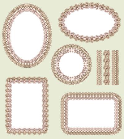 an oval: Patr�n transparente y conjunto de cuadros decorativos. Patr�n se incluye como una muestra perfecta.