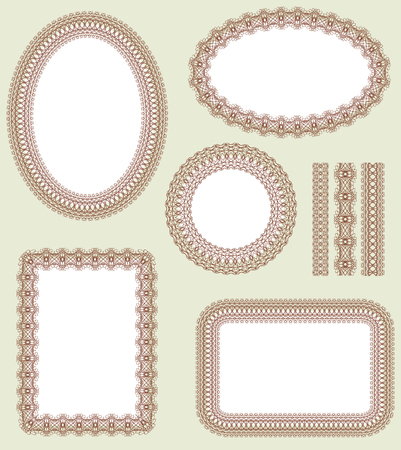 oval shape: Seamless pattern and decorative frame set. Pattern is included as a seamless swatch.