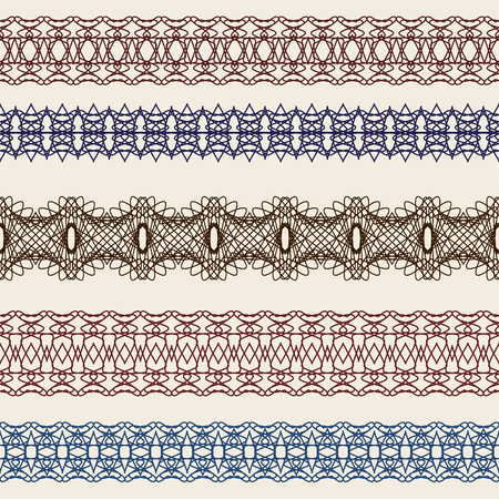set of borders seamless elements for certificates, awards, coupons, etc.  Vector