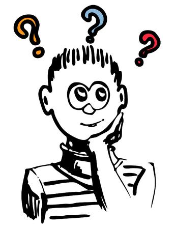 dilemma: Boy thinking  or have a dilemma or idea