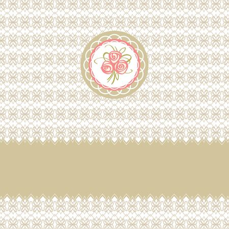 Cute greeting vector card with roses element design for easter or birthday Vector