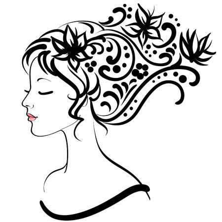 spring floral girl, vector illustration Vector