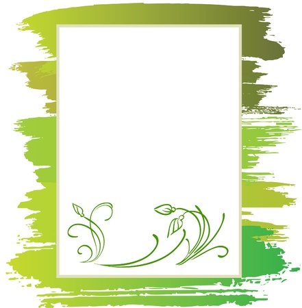 announcement form with green flower and brush, vector background Stock Vector - 9146754