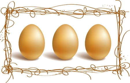 Three gold eggs in the nest frame Stock Vector - 9146761