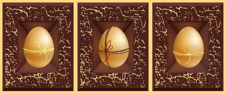 3d vector eggs, gold white silver and grunge brown frame Stock Vector - 9146763