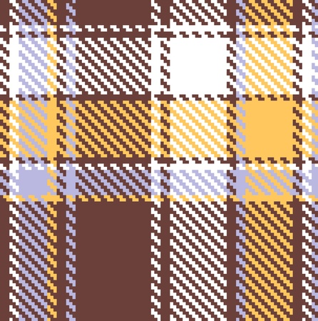 Seamless checkered brown blue orange vector pattern  Vector