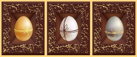 3d vector eggs, gold white silver and grunge brown frame Stock Vector - 9193988