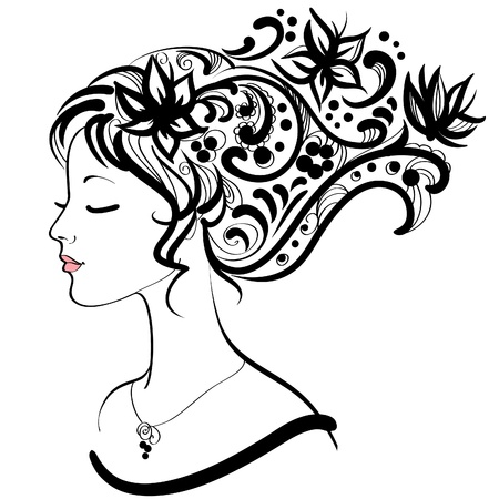 Woman face  with floral hairstyle  Vector