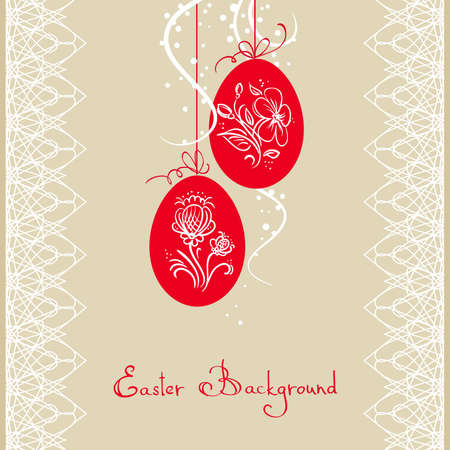 easter card with red eggs Stock Vector - 9233446