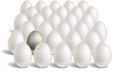 white silver eggs rows Stock Vector - 9233447