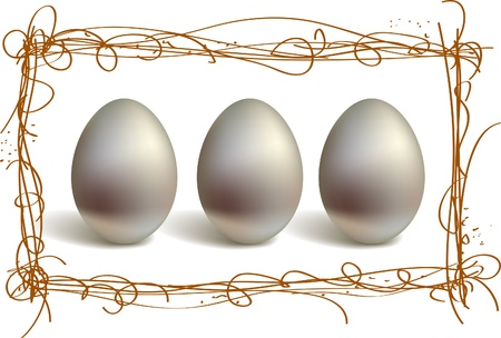 Three silver eggs in the nest frame Stock Vector - 9233414