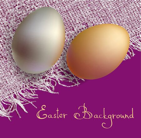gold and silve 3d eggs on white canvas easter card with text Stock Vector - 9294927