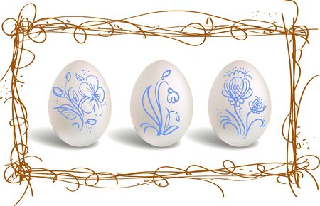 Three beautiful easter eggs in the nest frame Vector