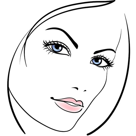 face: beauty girl face icon Illustration