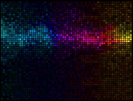 grid black background: Multicolor abstract lights disco background. Square pixel mosaic Illustration
