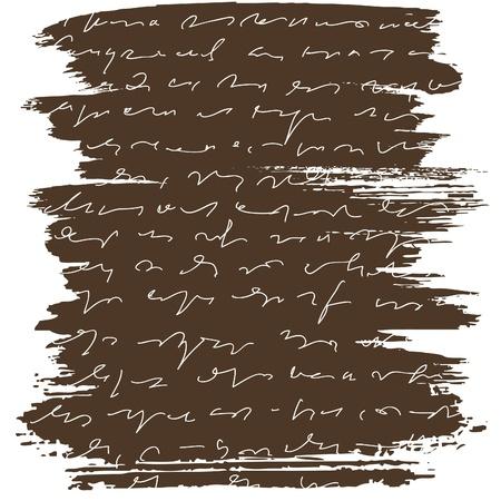 garabatos: Carta de pincel con texto abstracta sobre fondo marr�n