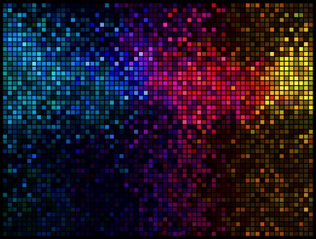 Multicolor abstract lights disco background. Square pixel mosaic Stock Vector - 9352955
