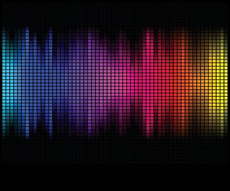 Multicolor abstract lights disco background. Square pixel mosaic vector Vetores