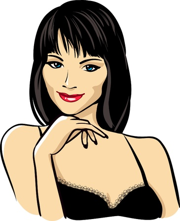 beautiful woman face with red lips vector portrait  Vector