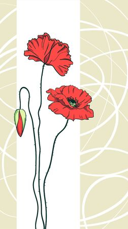 Red poppies floral background  Vector