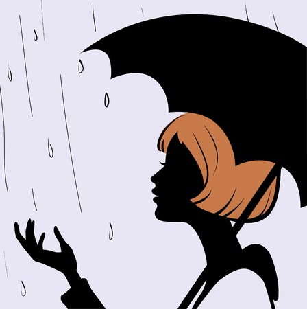 Beautiful young girl face silhouette with black umbrella on rainy day  Vector