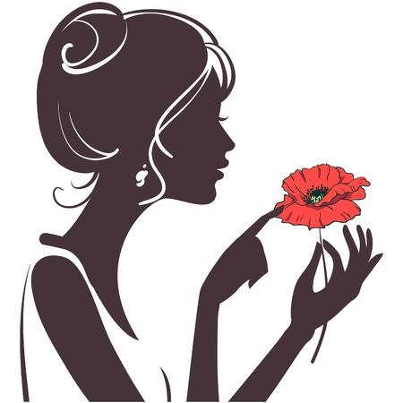visage: silueta de chica de belleza con amapola Roja Vectores