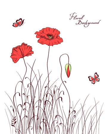 red poppy &amp, grass silhouettes background Vector