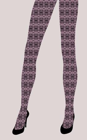 legs stockings: gambe sexy donna elegante in scarpe nere, illustrazione di moda