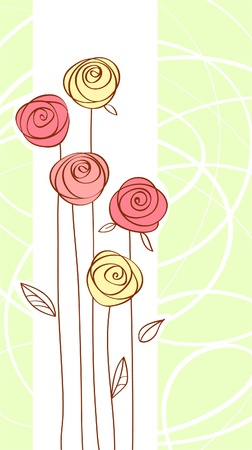 dessin fleur: carte de voeux avec la couleur rouge est pass� fleur Illustration