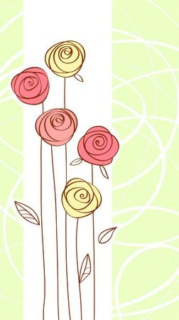 flores de cumplea�os: tarjeta de felicitaci�n con color rojo subi� flor Vectores