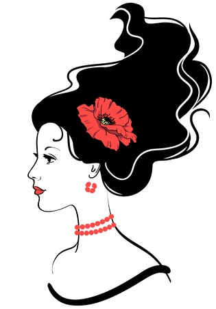 red head woman: beauty girl face silhouette with red poppy in hairstyle