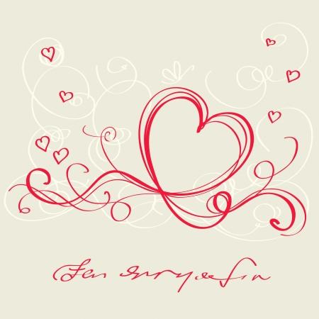 corazon dibujo: Cinta roja de coraz�n. Tarjeta del d�a de San Valent�n