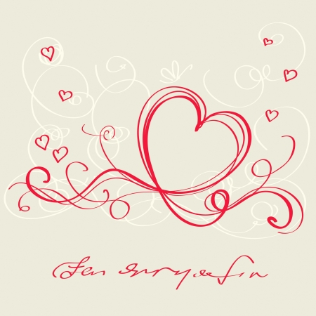 dessin coeur: Ruban rouge de coeur. Carte de la Saint Valentin
