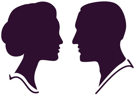 man face profile: man and woman face profile